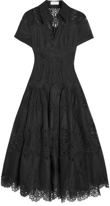Zimmermann - Winsome Cotton-gauze And Lace Midi Dress - Black $1,800 thestylecure.com