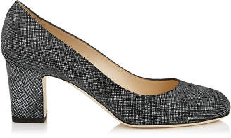 Jimmy Choo BILLIE 65 Black Canvas Leather Round Toe Pumps with Chunky Heel