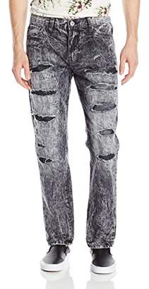 Southpole Men's Washed Denim Pants Long Slim Straight Fit Jeans with Heavy Ripped Details