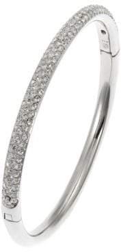 Nadri Silvertone Crystal Pav Hinge Bangle Bracelet