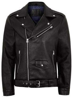 Topman Mens Black Faux Leather Oversized Biker Jacket