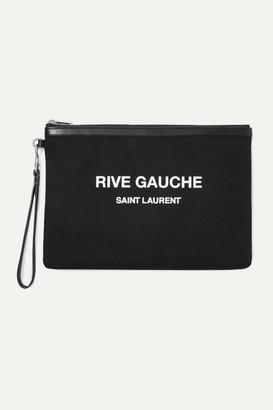 Saint Laurent Leather-trimmed Printed Canvas Pouch - Black