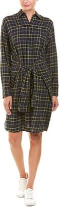 Vince Tie-Front Wool-Blend Shirtdress