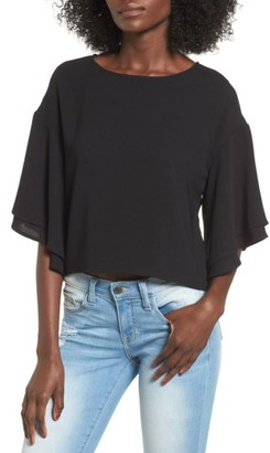 Women's Leith Double Ruffle Sleeve Top $55 thestylecure.com