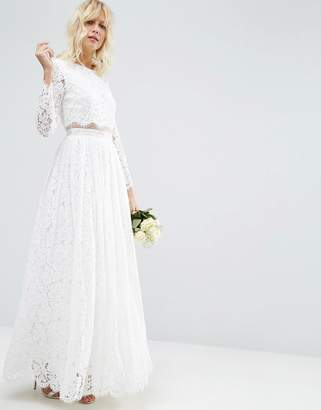 Asos Design BRIDAL Lace Long Sleeve Maxi Prom Dress