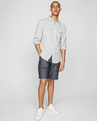 Express Slim Solid Linen Blend Shirt