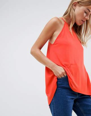 Asos DESIGN cami with high neck and dip back in coral
