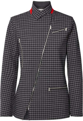 Sonia Rykiel Zip-detailed Checked Crepe Blazer - Navy