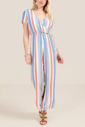 francesca's Kora Striped Jumpsuit - Ivory