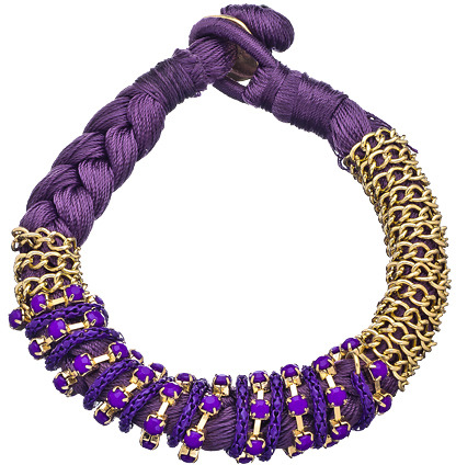 Blu Bijoux Purple Braided Chain And Stud Bracelet