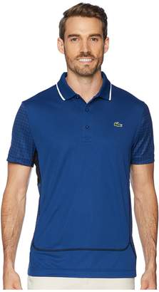 Lacoste Sport Short Sleeve Ultra Dry Net Print Color Block Polo w/ Flatlock Detail Men's Sweater