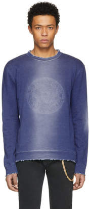 Balmain Blue Embossed Coin Logo Distressed Sweatshirt