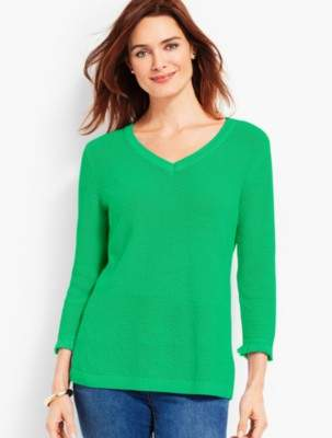 Talbots Textured V-Neck Sweater With Fringed-Trimmed Sleeves