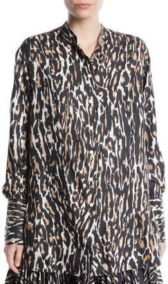 Calvin Klein Long-Sleeve Button-Front Leopard-Print Silk Twill Blouse