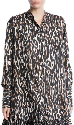 Calvin Klein Long-Sleeve Button-Front Leopard-Print Silk Twill Blouse