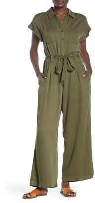 Sneak Peek Denim Short Sleeve Knit Jumpsuit