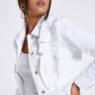 River Island Womens White frill raw hem cropped denim jacket