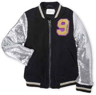 Diesel Girls 4-6x) Sequin Sleeve Varsity Bomber Jacket