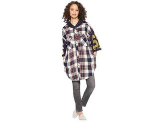 Free People Maddox Plaid Patched Tunic Women's Blouse