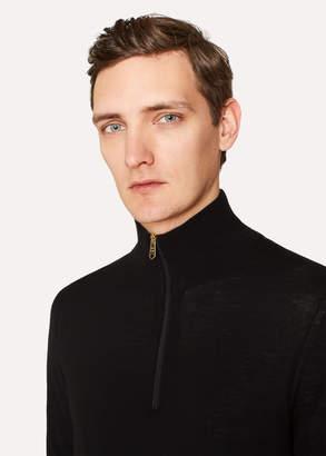 Paul Smith Men's Black Funnel Neck Merino Wool Half-Zip Sweater