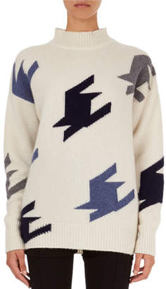 Victoria Beckham Oversized Geometric Knit Cashmere Mock-Neck Sweater