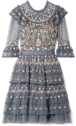 Needle & Thread Paradise Ruffled Embroidered Tulle Dress - Blue