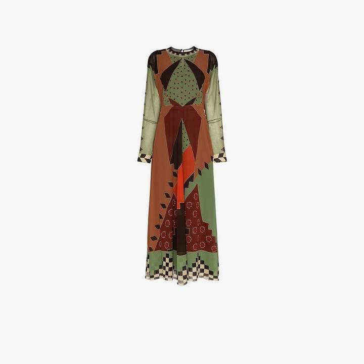 printed flared silk dress