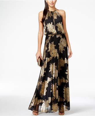 MSK Metallic-Print Pleated Blouson Gown $129 thestylecure.com
