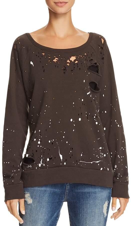 Distressed Splatter Print Sweatshirt