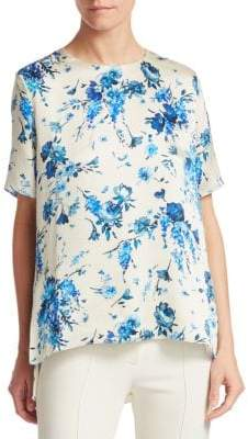 ADAM by Adam Lippes Hammered Silk Floral Top