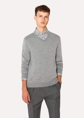 Paul Smith Men's Light Grey Marl V-Neck Merino Wool Sweater