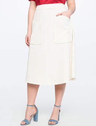 ELOQUII Tea Length Skirt with Pockets