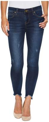 KUT from the Kloth Connie Ankle Skinny-w/ Uneven Hem in Benefic w/ Dark Stone Base Wash Women's Jeans