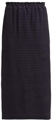 Raey Elasticated Waist Seersucker Skirt - Womens - Navy