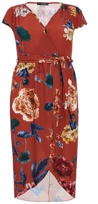 Quiz Curve Terracotta Floral Wrap Dip Hem Dress