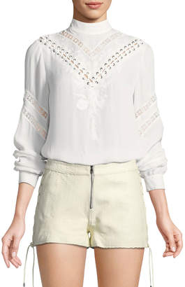 Haute Hippie Old West Long-Sleeve Silk Blouse with Embroidery & Lace Trim