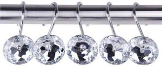 Yosoo Shower curtain Bling hooks Rings Acrylic Decorative Rhinestones Glass Crystal Rolling Bathroom Bath Set of 12 Rings