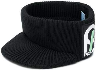 Prada logo patch knitted hat
