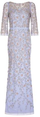 Aidan Mattox Long Sleeve Beaded Gown
