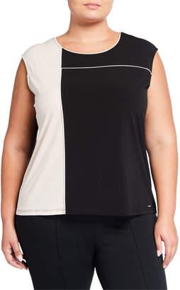 Iconic American Designer Plus Size Sleeveless Colorblock Top