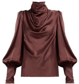 Zimmermann Cowl Neck Silk Blend Blouse - Womens - Brown