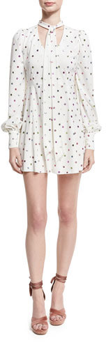 Marc Jacobs Marc Jacobs Glittered Polka-Dot Tie-Neck Cocktail Dress