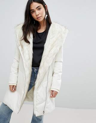 New Look Faux Fur Shawl Padded Coat