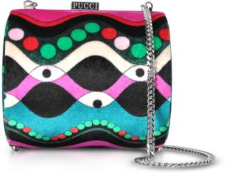 Emilio Pucci Petrol Blue and Fuchsia Printed Viscose Clutch