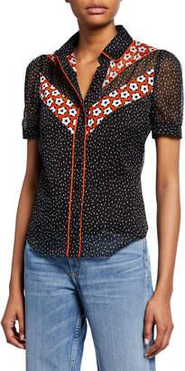 Diane von Furstenberg Mia Silk Chiffon Collared Shirt