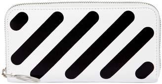 Off-White Diagonal Stripes Zip Around Wallet