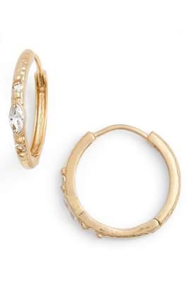 Treasure & Bond Casual Marquise Crystal Hammered Hoop Earrings