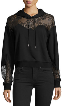 McQ Alexander McQueen Hooded Lace-Trim Sweatshirt, Black $450 thestylecure.com