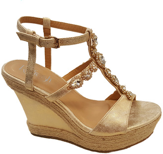 Champagne Rhinestone Beverly Wedge Sandal $49.99 thestylecure.com