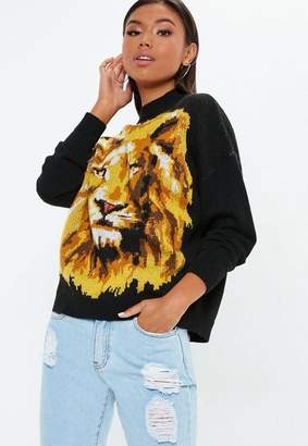 Missguided Black Lion Graphic Knit Sweater